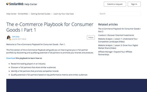 Screenshot of Support Page similarweb.com - The e-Commerce Playbook for Consumer Goods I Part 1 – Help Center - SimilarWeb - captured Aug. 1, 2017