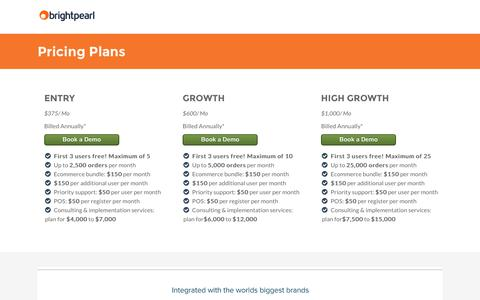 Screenshot of Pricing Page brightpearl.com - Brightpearl Software Pricing - Brightpearl - captured Aug. 19, 2016
