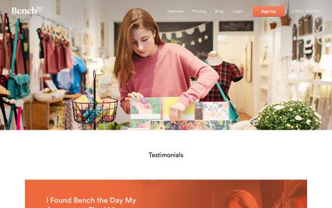 Screenshot of Testimonials Page bench.co - Bench — Customer Testimonials - captured Nov. 3, 2014