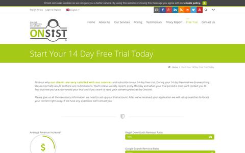 Screenshot of Trial Page onsist.com - Start Your 14 Day Free Trial Today - captured Oct. 7, 2014