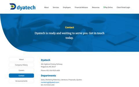 Screenshot of Contact Page dyatech.com - Contact - Dyatech - captured Dec. 19, 2018