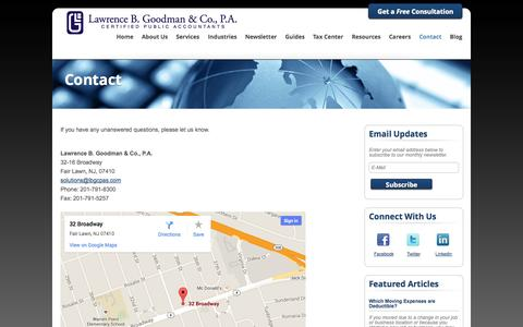 Screenshot of Contact Page lbgcpas.com - Fair Lawn, New Jersey Accounting Firm | Contact Page | Lawrence B. Goodman & Company - captured Oct. 2, 2014