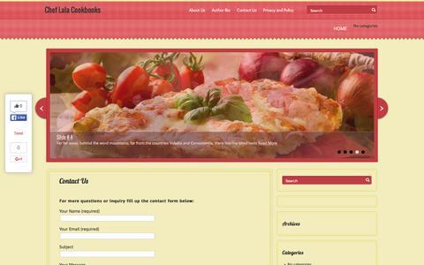 Screenshot of Contact Page cheflalacookbooks.com - Contact Us   Chef Lala Cookbooks - captured Jan. 20, 2016