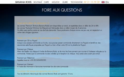 Screenshot of FAQ Page bananarods.com - Foire aux Questions - BANANA RODS - captured May 31, 2017
