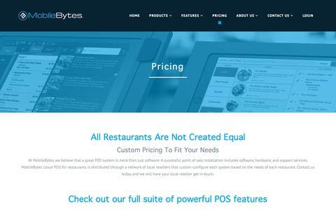 Screenshot of Pricing Page mobilebytes.com - Cloud POS for Restaurants - Pricing | MobileBytes - captured Nov. 7, 2018