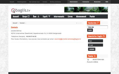 Screenshot of Contact Page baglis.tv - Contact - Baglis TV - captured Oct. 3, 2014