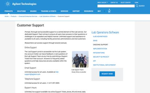 Screenshot of Support Page agilent.com - Agilent | Customer Support - captured May 25, 2017