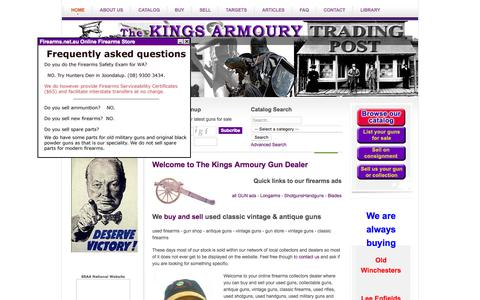 Screenshot of Home Page firearms.net.au - Kings Armoury - Gun Dealer - Used Guns - Firearms Store - Antique Guns - Advertise with us - captured Oct. 16, 2015