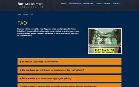 Screenshot of FAQ Page artisanplastics.com - FAQ - captured Oct. 4, 2014