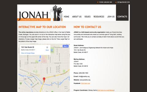Screenshot of Contact Page Maps & Directions Page jonahbc.org - Contacts | JONAH | Living Faith. Building community. - captured Oct. 23, 2014
