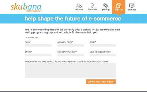 Screenshot of Signup Page skubana.com - Enterprise-grade, ALL-IN-ONE Cloud Inventory Management & Order Management Software Sign Up for Testing | Skubana - captured Oct. 26, 2014