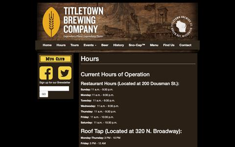 Screenshot of Hours Page titletownbrewing.com - Hours | Titletown Brewing Co. - captured Oct. 20, 2018