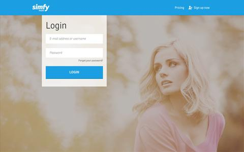 Screenshot of Login Page simfy.de - Enjoy, discover and share music | simfy - Your Music. Anywhere. Anytime. - captured Sept. 17, 2014