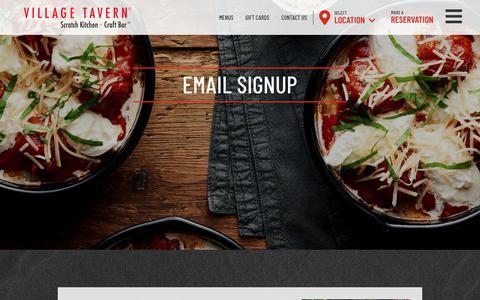 Screenshot of Signup Page villagetavern.com - Email Signup | Village Tavern - captured Oct. 18, 2018