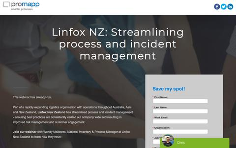 Screenshot of Landing Page promapp.com - Webinar: Linfox NZ: Streamlining process and incident management - captured May 28, 2018