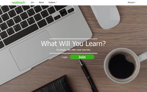 Screenshot of Home Page neatteach.com - Home - Neatteach - captured Oct. 1, 2014