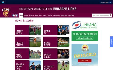 Screenshot of Press Page lions.com.au - News & Media - lions.com.au - captured Oct. 6, 2018