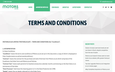 Screenshot of Terms Page motors.co.uk - Terms and Conditions - Motors.co.uk Media Centre - captured April 26, 2019