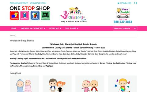 Screenshot of Products Page kidsblanks.com - Wholesale baby clothing blanks toddler t-shirt blanks for Screen Printing Embroidery and Sublimation - captured Nov. 6, 2018