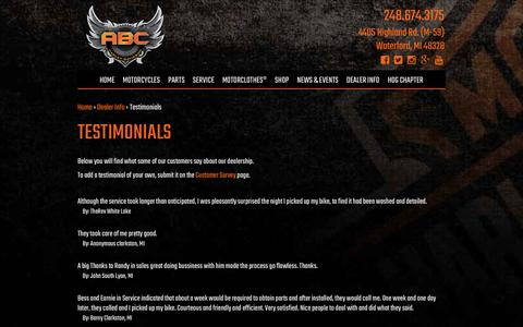 Screenshot of Testimonials Page abcharleydavidson.com - ABC Harley-Davidson, your Dealership in Metro-Detroit for new Harley-Davidsons, Used Harley-Davidsons, Apparel, Service, and parts and accessories. - captured May 28, 2017