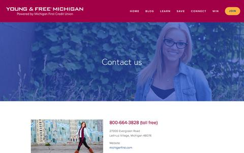 Screenshot of Contact Page youngfreemichigan.com - Contact — Young & Free Michigan - captured March 18, 2016