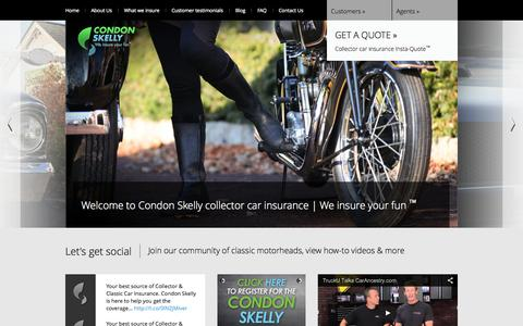 Screenshot of Home Page condonskelly.com - Condon Skelly | 	We insure your fun - captured Sept. 30, 2014