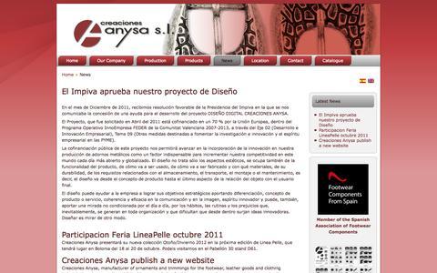 Screenshot of Press Page creacionesanysa.com - Novedades - Creaciones Anysa - captured Sept. 30, 2014
