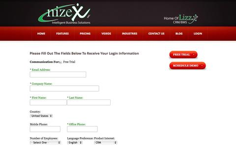 Screenshot of Trial Page nizex.com - Contact Us Free Trial | nizeX, Inc. - captured Oct. 7, 2014