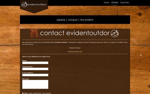 Screenshot of Contact Page liveevident.com - Evident Outdoor - Contact - captured Nov. 2, 2014