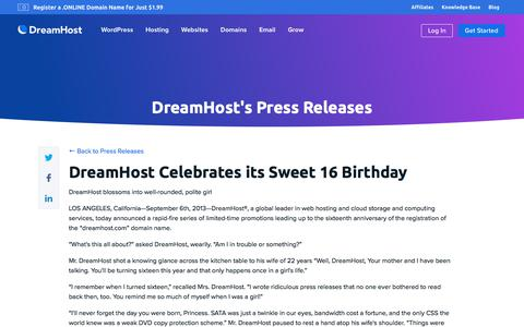 Screenshot of Press Page dreamhost.com - DreamHost Celebrates its Sweet 16 Birthday  – DreamHost - captured Feb. 21, 2020