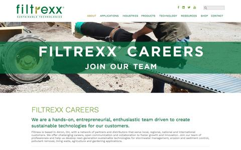 Screenshot of Jobs Page filtrexx.com - Filtrexx Careers, Job Opportunities at Filtrexx - captured Nov. 15, 2016