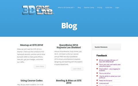 Screenshot of Blog 3dgamelab.com - Blog Archives - 3D GameLab | 3D GameLab - captured Sept. 16, 2014
