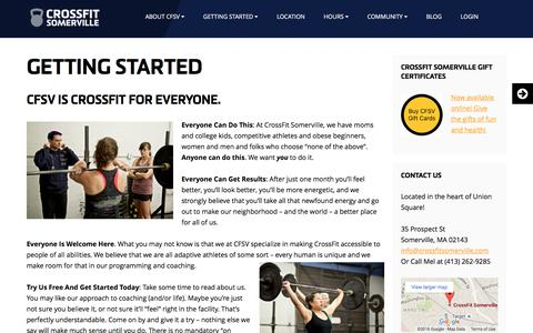 Screenshot of Trial Page crossfitsomerville.com - Getting Started - CrossFit SomervilleCrossFit Somerville - captured July 18, 2016