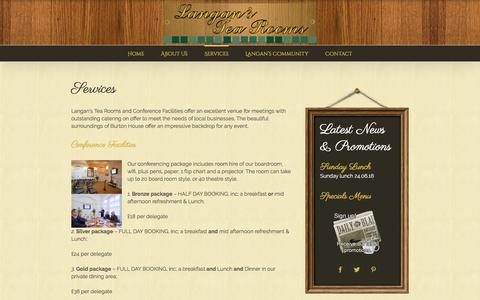Screenshot of Services Page langanstearooms.co.uk - Services - Langans Tea Rooms - captured July 16, 2018