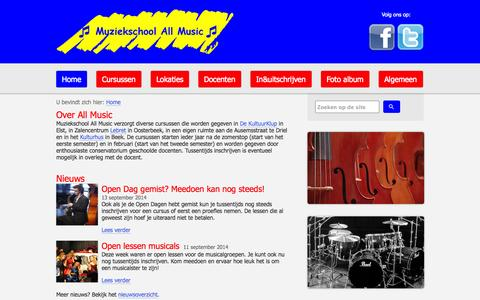 Screenshot of Home Page muziekschoolallmusic.nl - Muziekschool All Music - captured Oct. 7, 2014