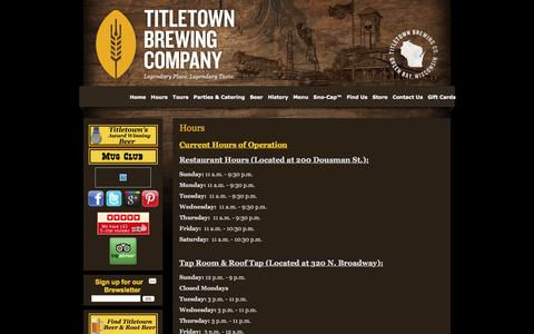 Screenshot of Hours Page titletownbrewing.com - Hours | Titletown Brewing Co. - captured Dec. 19, 2016