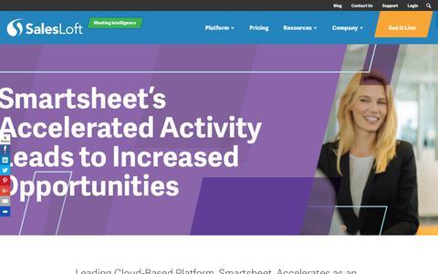 Screenshot of Case Studies Page salesloft.com - Smartsheet Accelerates Activity and Increases Opportunities - SalesLoft - captured Sept. 19, 2018