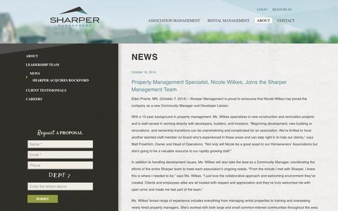 Screenshot of Press Page sharpermanagementwebsites.com - Sharper Management News | Sharper Management - captured Oct. 26, 2014
