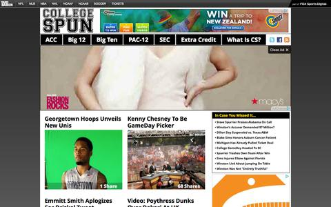 Screenshot of Home Page collegespun.com - College Spun – Social. Local. Consumable. College Sports. - captured Sept. 25, 2014