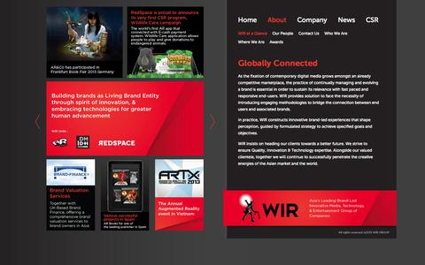 Screenshot of About Page wirglobal.com - WIR at a glance - WIR Global - Asia's leading Brand-led Innovative Media, Technology, and Entertainment group of companies - captured Sept. 30, 2014