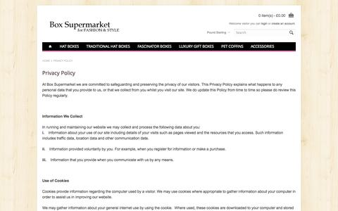 Screenshot of Privacy Page boxsupermarket.co.uk - Privacy Policy - captured Oct. 5, 2014
