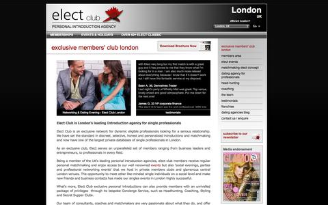 Screenshot of Home Page electclub.co.uk - Dating Agency London UK - Dating Agencies for Professionals & Executives | elect club - captured Oct. 2, 2014