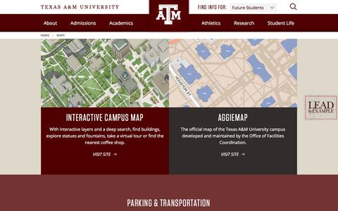 Screenshot of Maps & Directions Page tamu.edu - Maps - Texas A&M University, College Station, TX - captured Feb. 21, 2018