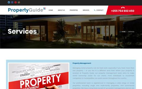 Screenshot of Services Page propertyguide.co.tz - Services – Property Guide - captured July 24, 2018