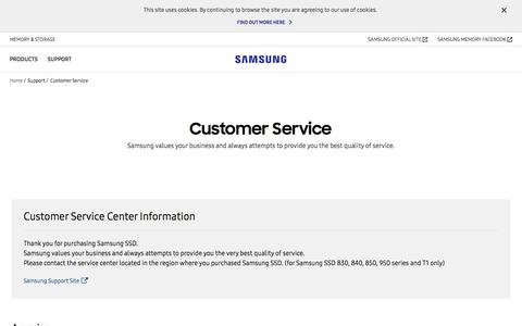 Screenshot of Support Page samsung.com - Customer Service   Samsung Support   Samsung V-NAND SSD   Samsung Semiconductor Global Website - captured Feb. 24, 2018