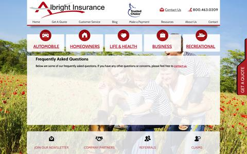 Screenshot of FAQ Page albrightagency.com - Frequently Asked Questions - Albright Insurance Agency, Inc. - captured Oct. 3, 2018