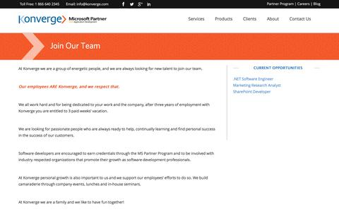 Screenshot of Jobs Page konverge.com - Custom Software Development Toronto, Custom Software Design | Konverge - captured Feb. 12, 2016