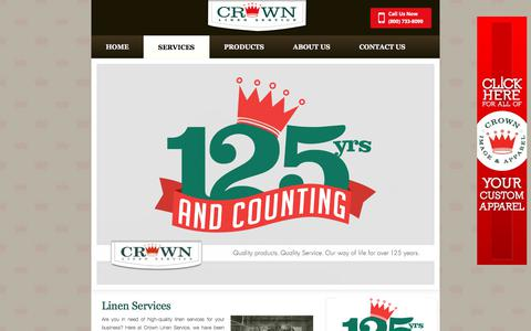 Screenshot of Services Page crownlinen.com - Linen Services For Healthcare, Hospitality And Restaurant Businesses - captured Aug. 31, 2017
