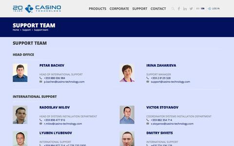 Screenshot of Support Page casino-technology.com - Casino Technology - captured Dec. 8, 2019