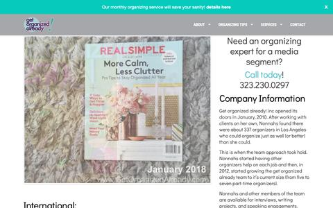 Screenshot of Press Page getorganizedalready.com - Get Organized Already! inc Press Kit - captured Nov. 4, 2018